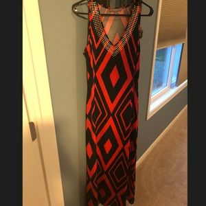 Red and black maxi dress from Macy's